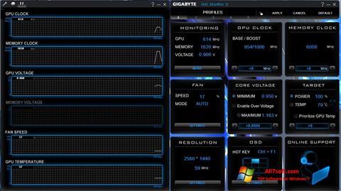 Ekran görüntüsü GIGABYTE OC Guru Windows 7