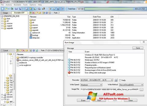 Ekran görüntüsü UltraISO Windows 7