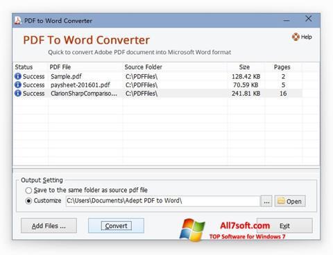 Ekran görüntüsü PDF to Word Converter Windows 7