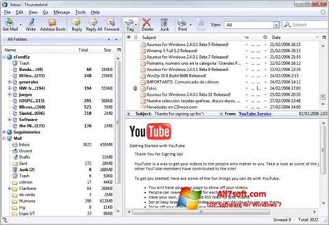 Ekran görüntüsü Mozilla Thunderbird Windows 7